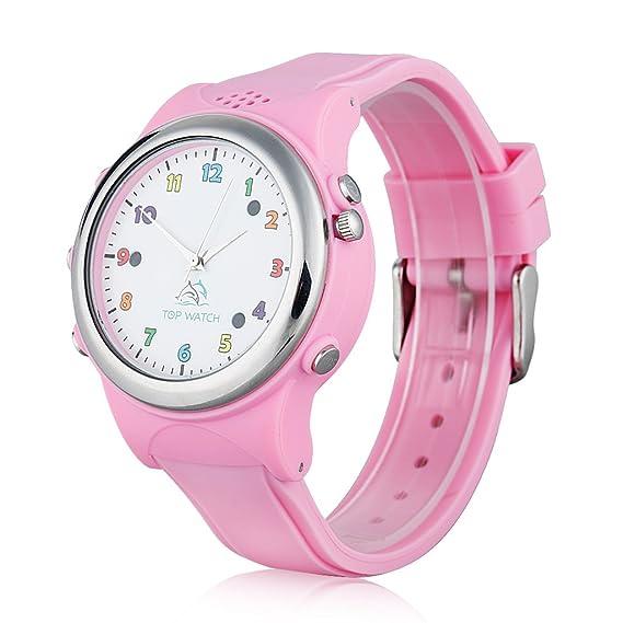 Top Watch TW061 - Smartwatch Pulsera de Reloj Infantil con GPS LBS Localizador para Seguridad de Niños SOS Llamada Sim Android Ios, Rosa