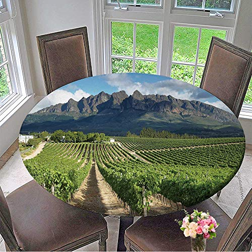 Mikihome Luxury Round Table Cloth for Home use Vineyards Landscape Near Wellington,South Africa for Buffet Table, Holiday Dinner 35.5