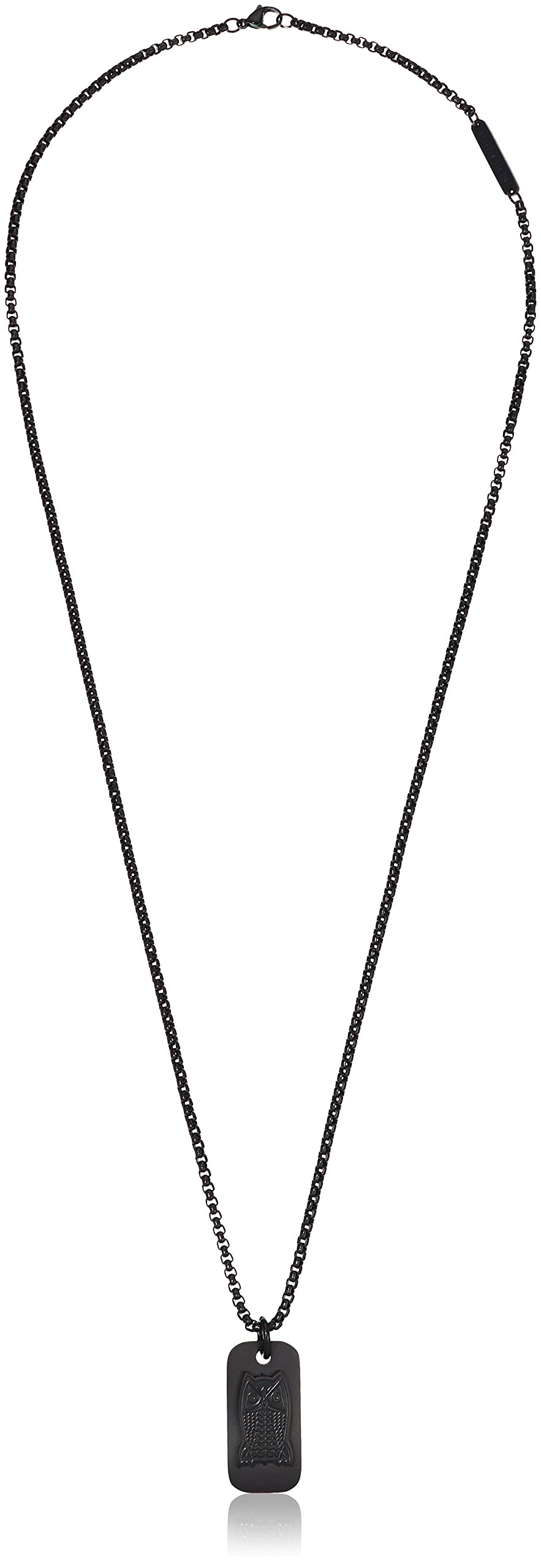 Ben Sherman Men's Black Owl Dog Tag Necklace with Stainless Steel Black IP Box Chain, 25