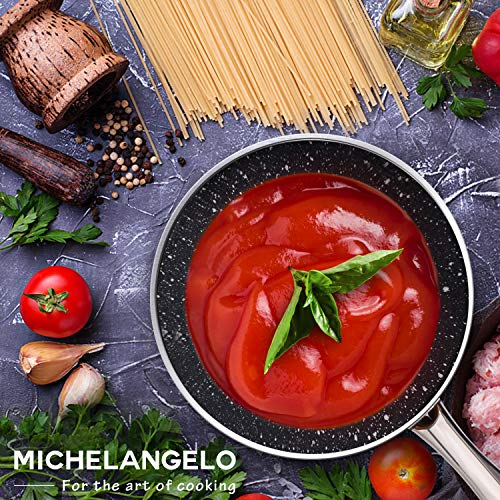 MICHELANGELO 1.5 Quart Sauce Pan with Lid, Small Copper Saucepan with Nonstick Stone Interior Coating & Hammering Exterior by MICHELANGELO (Image #6)