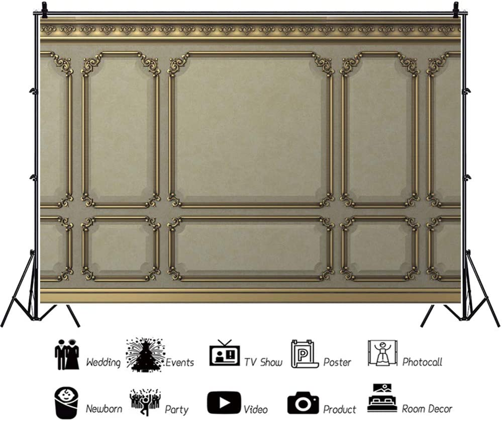 YEELE Classic Wall Backdrop 10x8ft Luxury Paint Beige Wood Wall Photography Background Wooden Board Carving Living Room Interior Backdrop Kids Adults Portrait Photoshoot Props Wallpaper