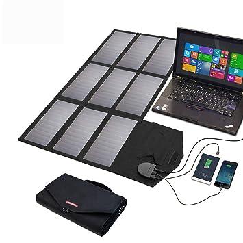 KANGLE 12V 18V 60W Cargador Panel Solar Ordenador Portátil Placa Solar Plegable Impermeable (18V DC