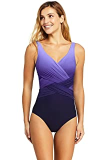 24fa593feaed1 Lands' End Women's Slender Wrap One Piece Swimsuit with Tummy Control Print
