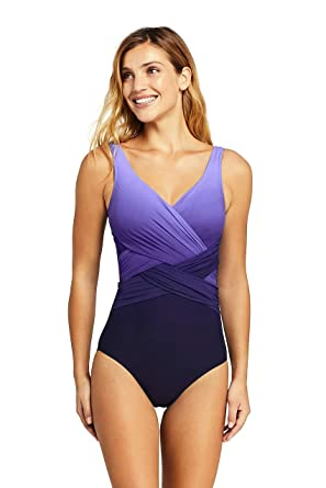4375fd5ea6f84 Lands' End Women's Slender Wrap One Piece Swimsuit with Tummy Control Print,  12, Smokey Grape Ombre at Amazon Women's Clothing store: