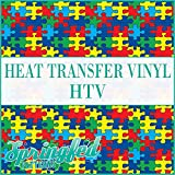 AUTISM PUZZLE PATTERN HTV Puzzle Pieces Heat Transfer Vinyl ROLL 12''x15' (5 Yards) of HTV for Shirts