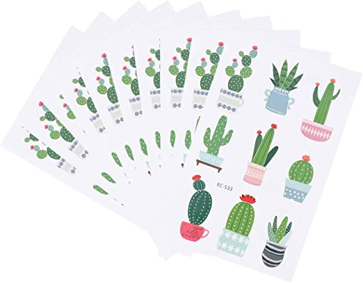 Amosfun 10 Hojas de Tatuajes Temporales Lindos Cactus Plantas ...