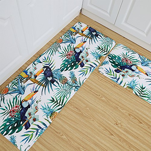 WSHINE Non-Slip Backing Tropical Print Kitchen Mat and Rug Birds Leaf Pineapple Doormat Extrance Window Runner Area Mats, Set of 2