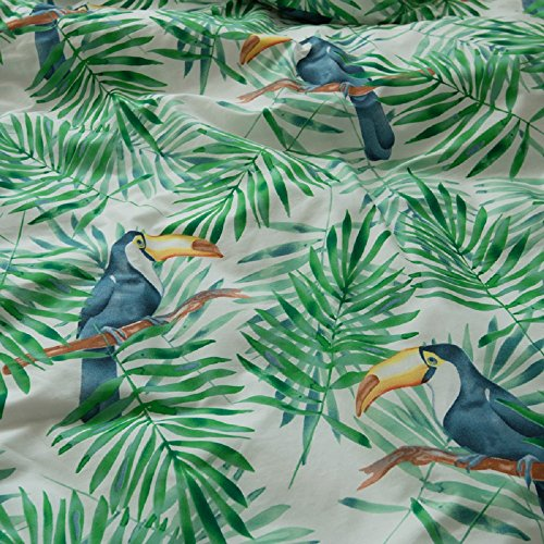 Jane yre Tropical Green 3 Piece Duvet Cover Set Bedding Set.Hawaiian Duvet Covers Tropical Woodpecker Bedspread Green Leaves Quilt Cover Queen Size by Jane yre (Image #3)