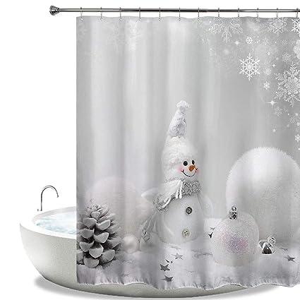 A Snowman Theme Waterproof Fabric Home Decor Shower Curtain Bathroom Mat