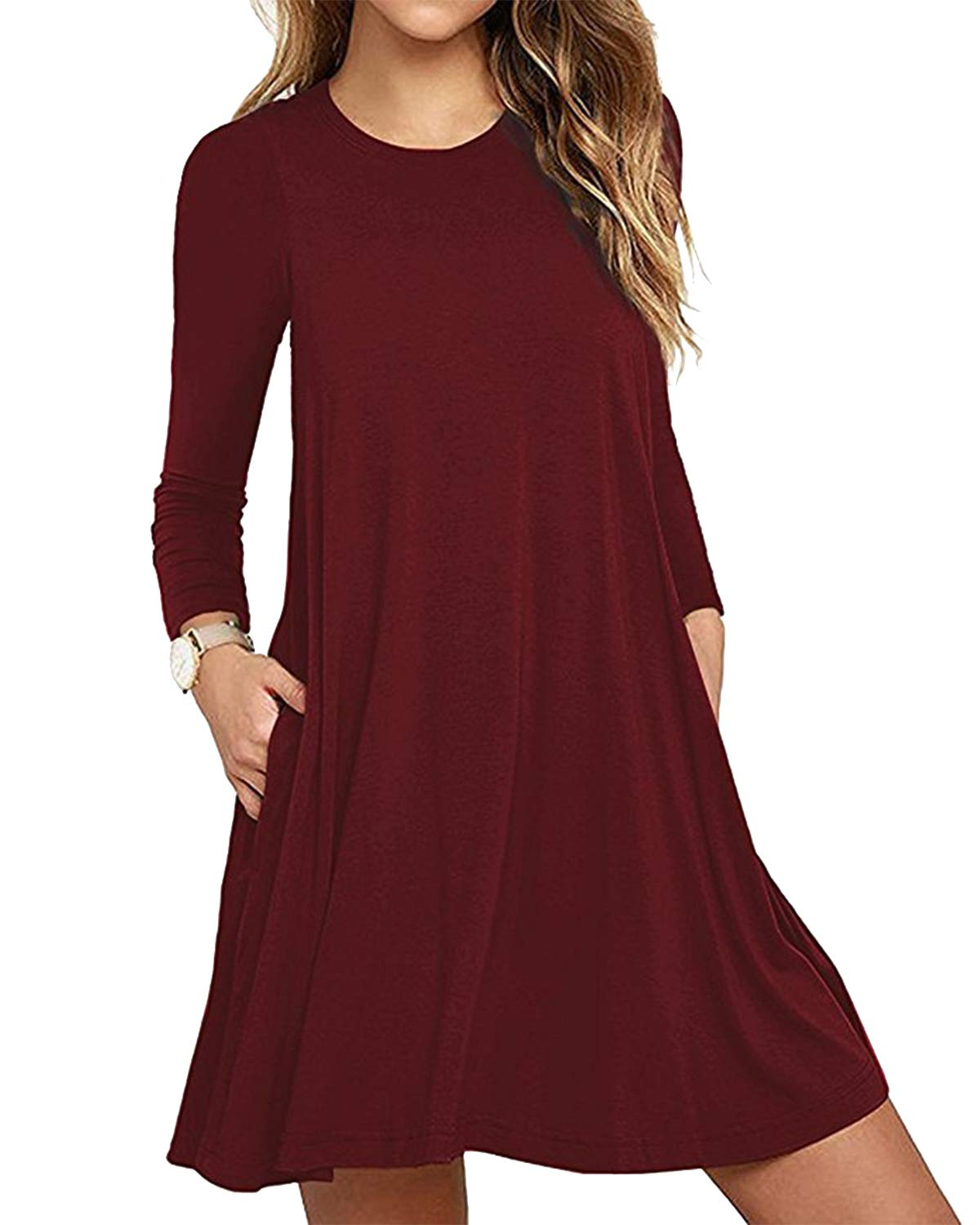 Deesdail Burgundy Dress for Women, Ladies Crew Neck Raglan Sleeves T-Shirt Dress with Pockets Stretchy Solid Color Cozy Flare Long Tunic