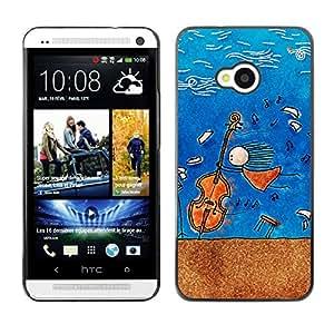 GIFT CHOICE / Teléfono Estuche protector Duro Cáscara Funda Cubierta Caso / Hard Case for HTC One M7 // Music Cello Composer Painting //