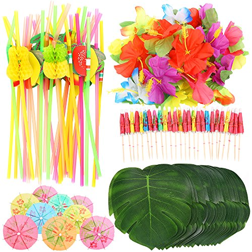 Auihiay 108 Pieces Tropical Party Decoration Supplies with Palm Leaves, Hawaiian Flowers, Umbrellas and Colorful 3D Fruit Straws for Hawaiian Luau Party Jungle Beach Theme Table Decorations