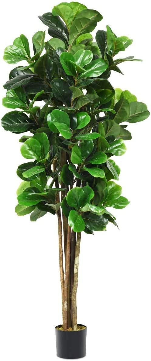 Goplus Fake Fiddle Leaf Fig Tree Artificial Greenery Plants in Pots Decorative Trees for Home & Office (5ft)