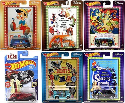 Hot Wheels Movie Magic Disney Pack Pop Culture Cars Dumbo Bread Box / Alice Wonderland Volkswagen Station Wagon / Robin Hood / Sleeping Beauty / Pinocchio & Cruella De Vil Character Series 6 Cartoon
