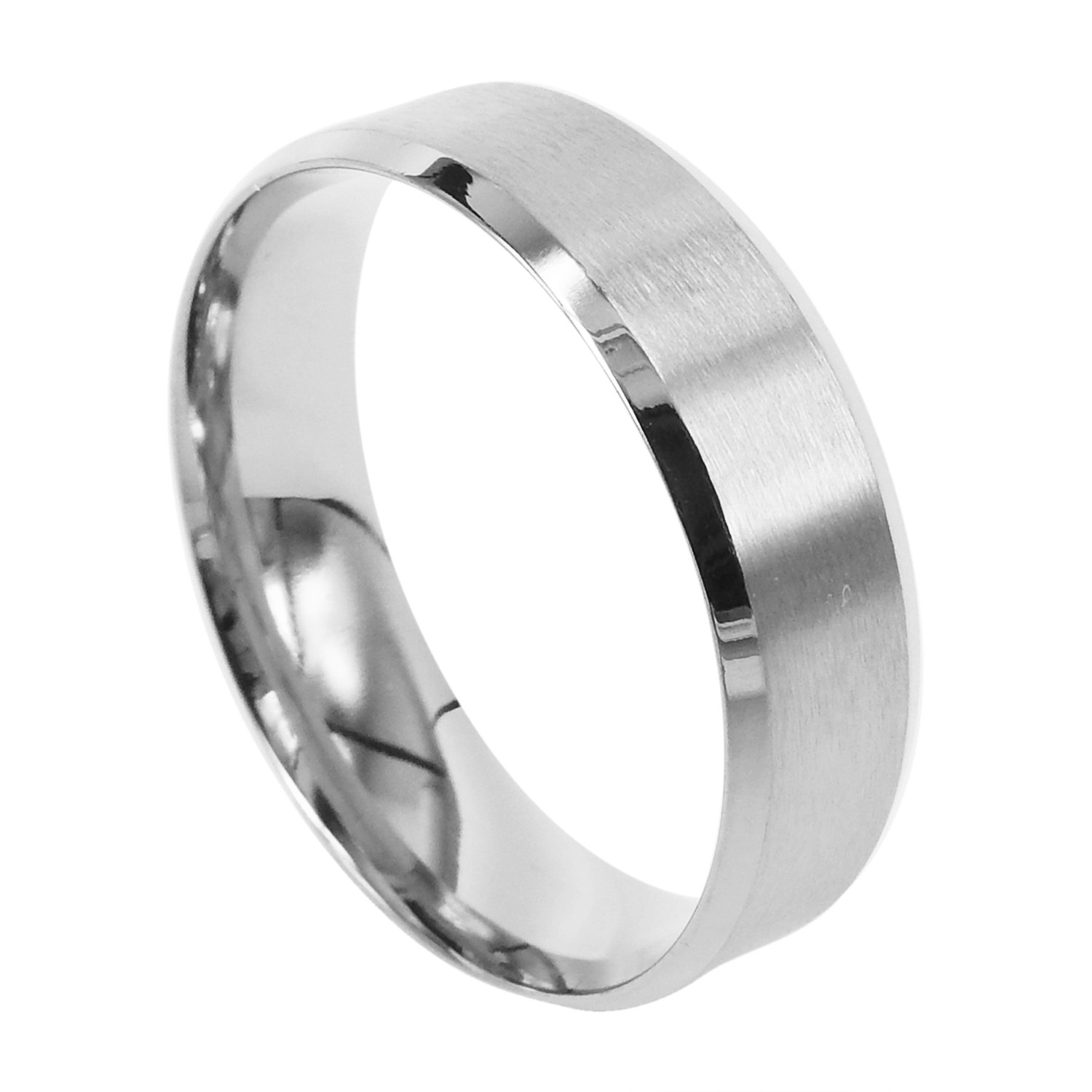 Everstone Men Titanium Ring Silver Matte Wedding Band Anniversary Engagement Ring Unisex Ring 7mm Size 3.5-16.5