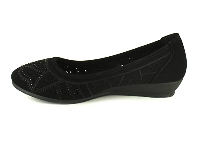 Platino New Ladies/Womens Black Microsuede Almond Toe Slip Onwedge Shoes -  Black - UK Sizes 3-9: Amazon.co.uk: Shoes & Bags