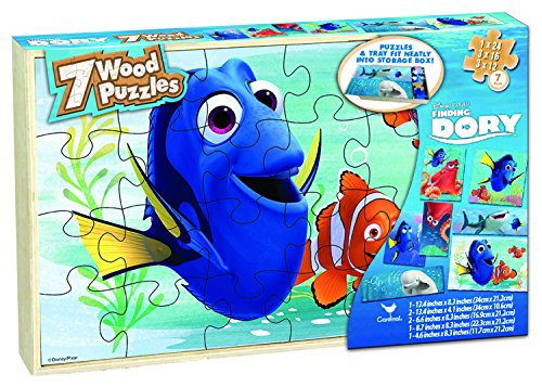 Disney Finding Dory 7 Wood Puzzles In Wooden Storage Box (styles will - Cool Wooden Stuff