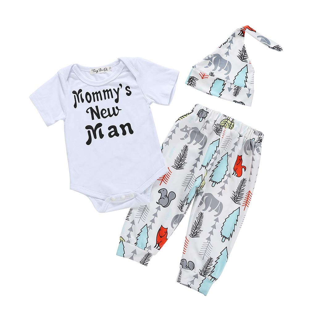 0-24M Letter Romper Jumpsuit Tops+Pants+Hat Outfits Set residentD Summer Newborn Baby Boy Clothes Set