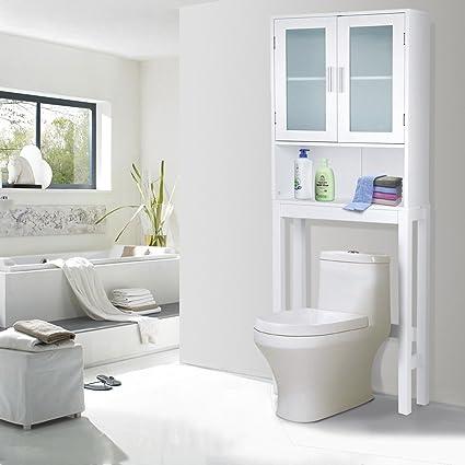 Giantex Bathroom Over The Toilet Space Saver Storage With Shelf And 2 Door
