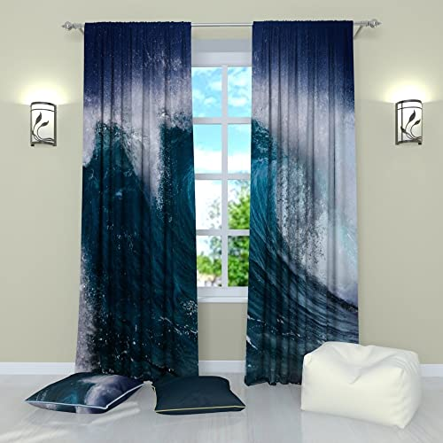 Factory4me Landscape Curtains Water Wave. Window Curtain Set of 2 Panels Each W52 x L96 Total W104 x L96 inches Drape