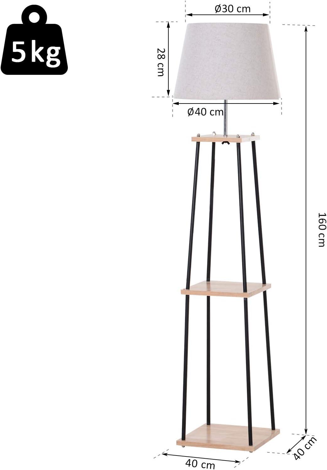 Metall Stehlampe 40 x 40 x 160 cm Schwarz Leinen Kautschukholz Beige Natur HOMCOM Leuchtst/änder mit 3 Regalen