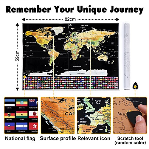 rabbitgoo scratch off world map poster with us states and country flags world travel tracker. Black Bedroom Furniture Sets. Home Design Ideas