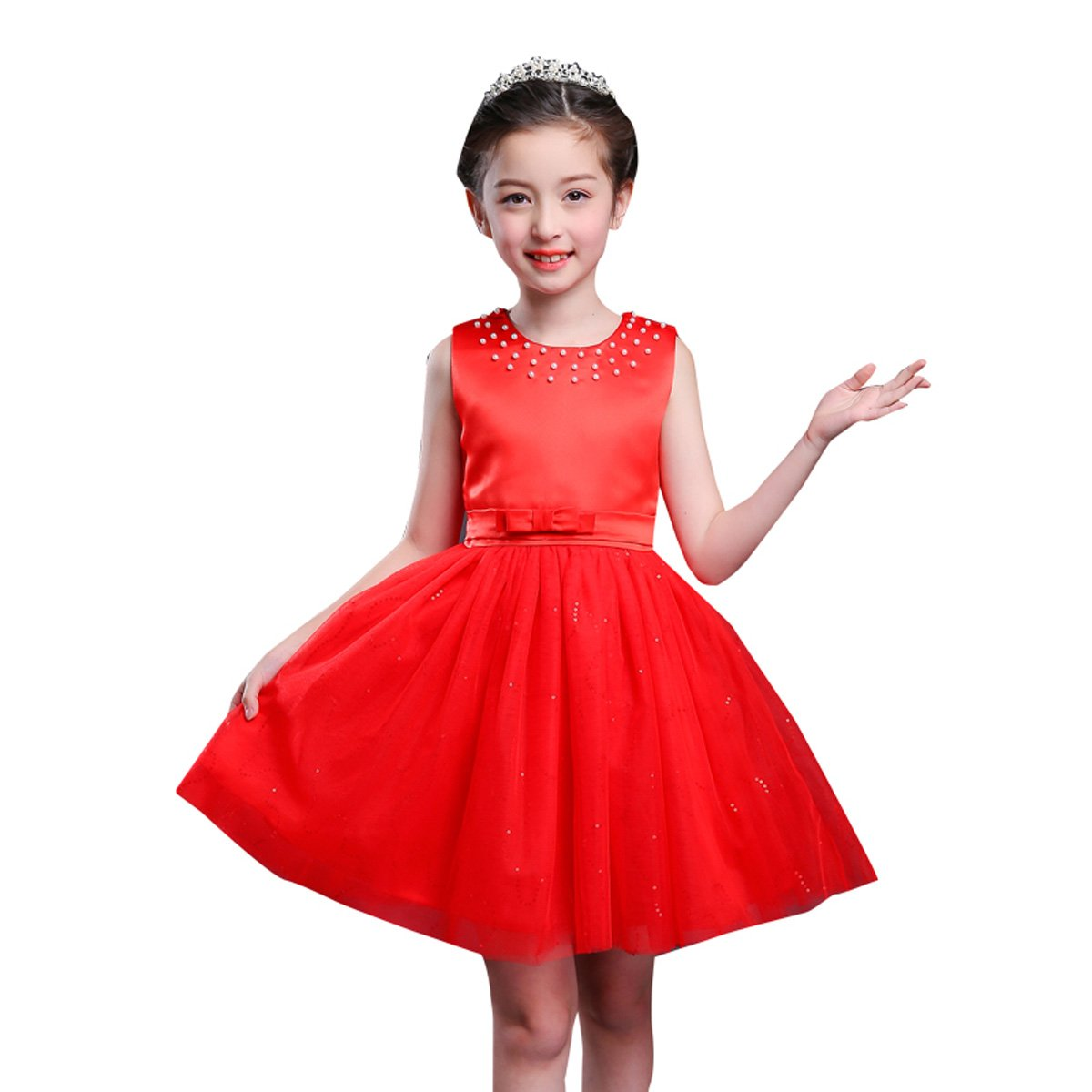 Strict Beautiful Girls Sleeveless Satin Bowknot Swing Ruffles Flower Girl Dress Stylish Princess Kids Girls Wedding Party Dress Sz 4-14 Carefully Selected Materials Flower Girl Dresses