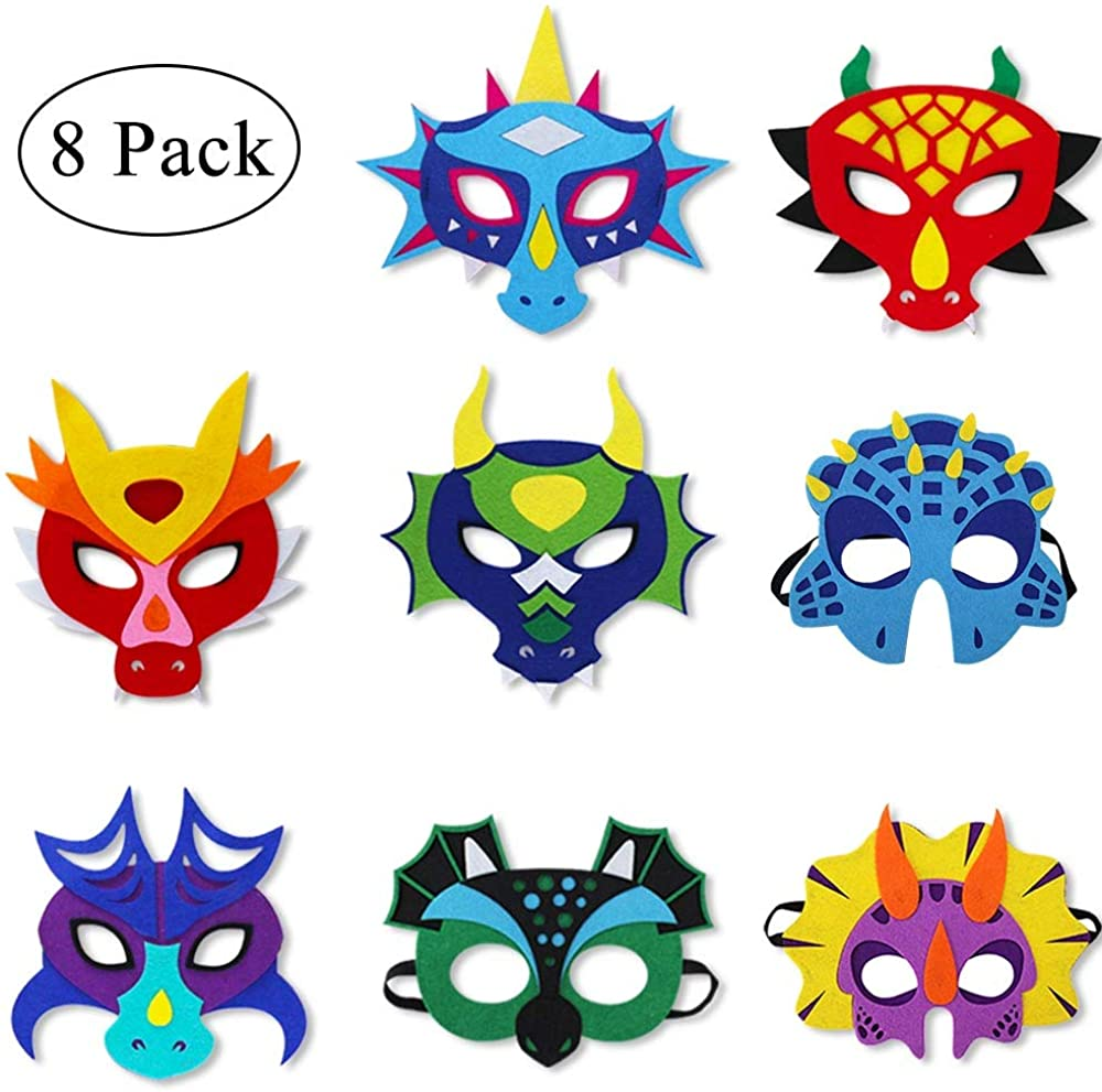Felt Dragon-Masks for Kids-Boys Girls Dinosaur Christmas Dress Up Dino Birthday Party, 8 Pack