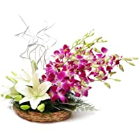 Floralbay Basket Arrangement of 3 White Asiatic Lilies with 5 Purple Orchids
