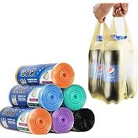 【创新背心式 手提不脏手 承重20斤】加厚手提家用马甲塑料袋 全新料加厚厨房塑料袋 家用垃圾袋 大号63*46cm 多色混装 每卷20只