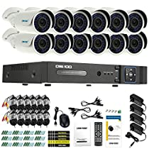 OWSOO 16CH AHD Full 720P 1500TVL CCTV Surveillance DVR Security System HDMI P2P Cloud Onvif Network Digital Video Recorder + 12720P Outdoor/Indoor Infrared Bullet Camera +1260ft Cable support IR-CUT