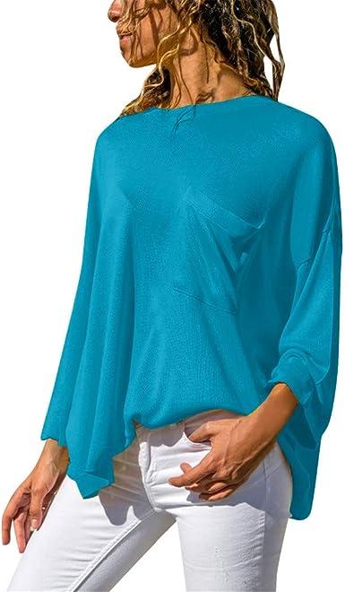 Sylar Tops Mujer Camiseta Manga Larga Camisa Mujer Color Sólido para Otoño Camisetas De Mujer con Bolsillos Suelto Tops Blusa Mujer Elegante Camisetas De Cuello Redondo De Moda para Mujer: Amazon.es: Ropa
