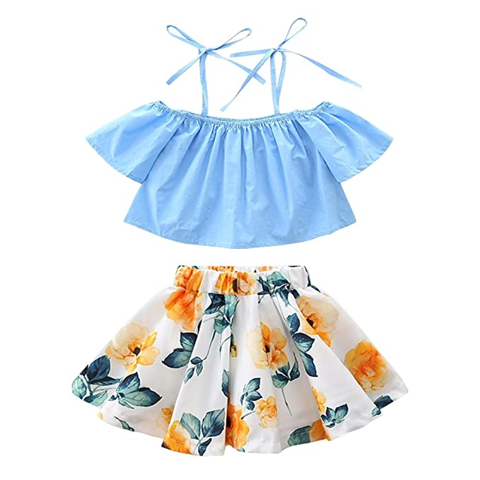 95693adf603 OUTGLE Girls Dress Kids Sky Blue Off Shoulder Straps Top + Rose Flower  Skirts Clothing Set