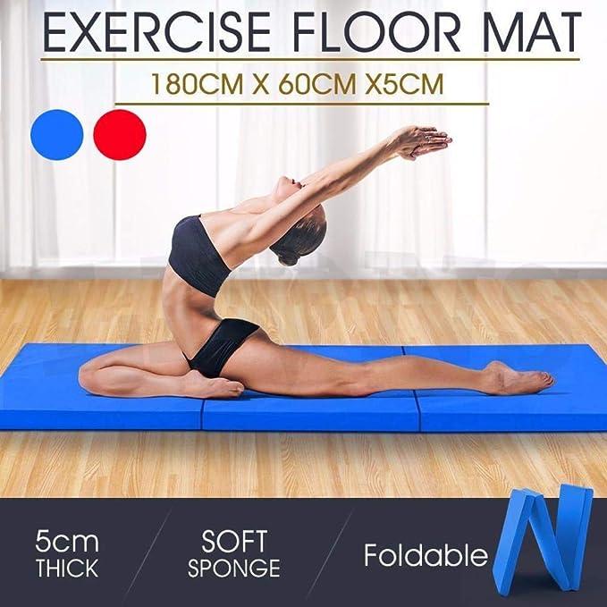 Plegable Alfombrillas para Gimnasia Tres Secciones colchoneta Esterilla Yoga Fitness Esterilla Espuma Acolchado 180 * 60 * 5 cm Rojo y Azul