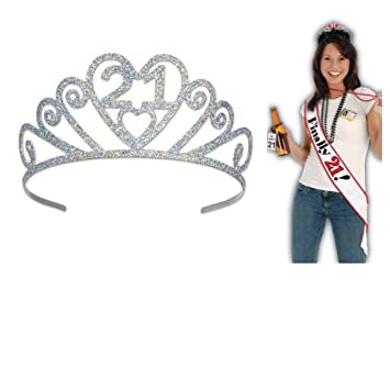 FINALLY 21 - METAL Glitter TIARA & Satin BIRTHDAY SASH - PARTY Attire -  21st GIRLS Night DIVA - Finally LEGAL - Drinking Age