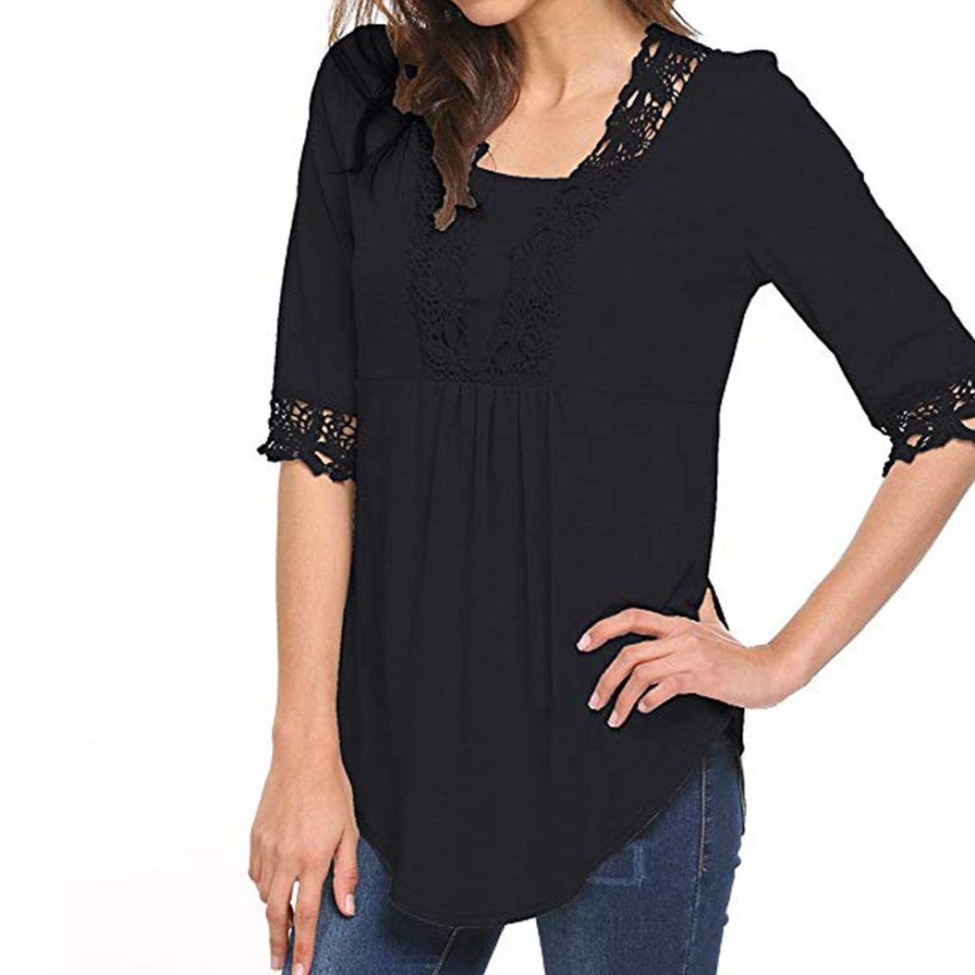 Amazon.com  UONQD Womens Half Sleeve Tops O Neck T Shirt Blouses Tunic  Blouse Shirts  Clothing 149be511f