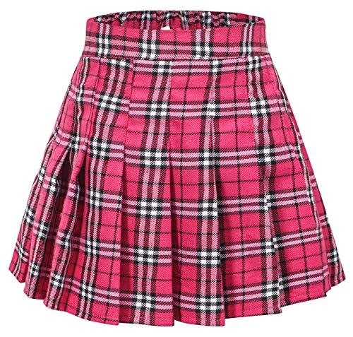 (Girls Pleated Plaid Short Skirt Skort, School Uniform Cosplay Costume Skirt for Toddlers, Little & Yougth Big Girls, Hot Pink/New Version, Tag 150 = 10-11 Years)