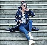 Feilongzaitianba Wadded Cotton Jacket Women Winter Coat Female Fashion Warm Parkas Hooded Women'S Jacket Casual Coat Plus Size Jx034 Blue With Star M