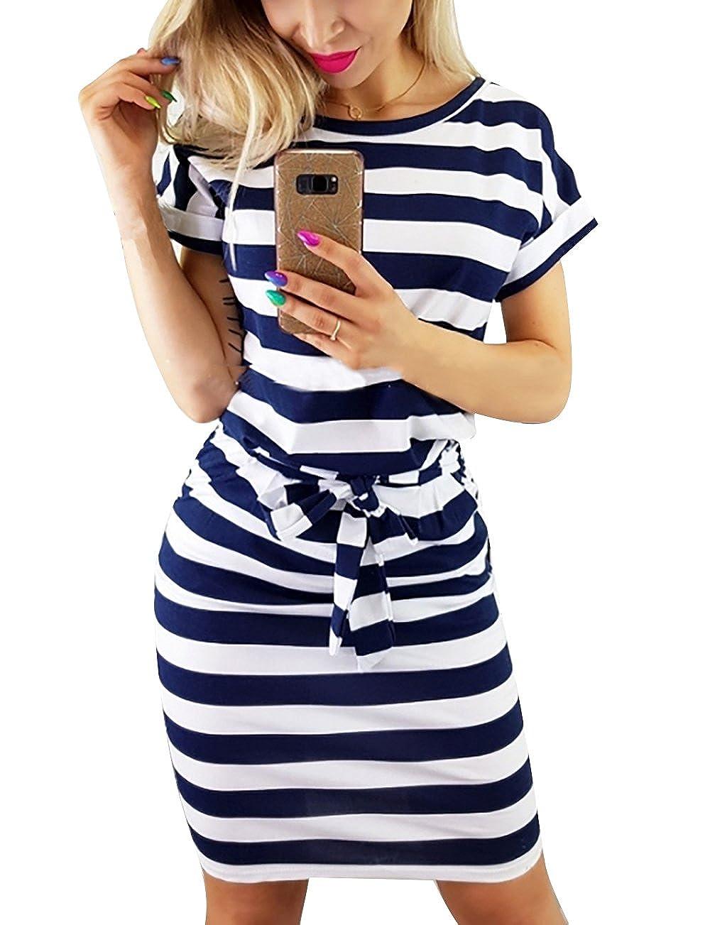 Yieune Sommerkleid Damen Lose Abendkleid Einfarbig Knie Lang Kleider Elegant Strandkleid Minikleid