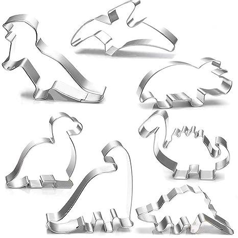 Juego de 7 cortadores de galletas de dinosaurio, brontosaurio, camarasaurio, estegosaurio, T