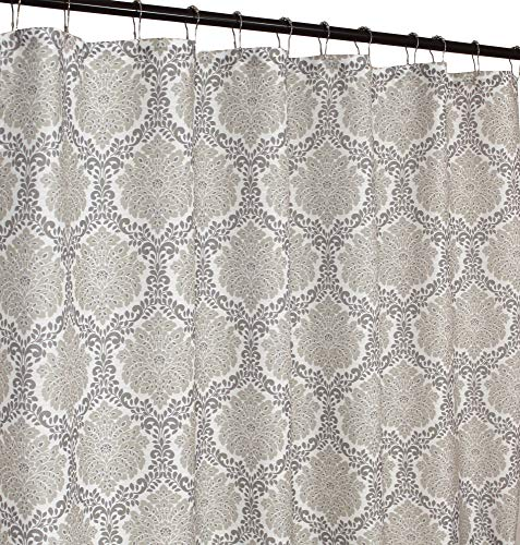 Marbella Gray Taupe Beige White Fabric Shower Curtain: Damask with Floral Trellis - Fabric Gray Damask