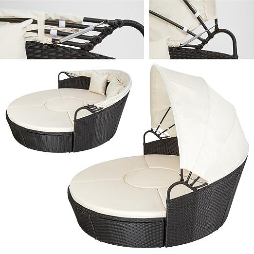 TecTake Conjunto de sillones con un techo isla para tomar el sol de ALUMINIO y ratán sintético - disponible en diferentes colores - (Negro | No.