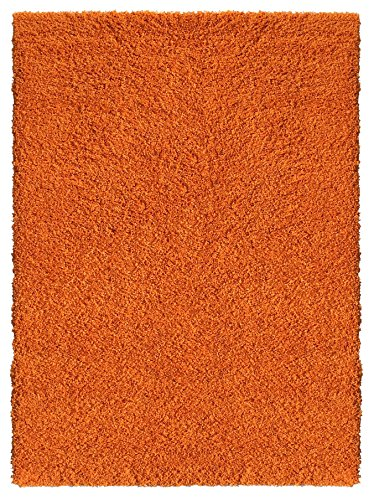Soft Shag Area Rug 3x5 Plain Solid Color ORANGE - Contemporary Area Rugs for Living Room Bedroom Kitchen Decorative Modern Shaggy Rugs