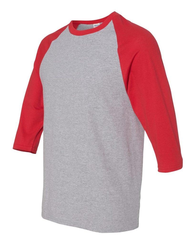 OCPrintShirts Men's Plain Raglan 5700 Quarter Sleeve Tee XXL Sport Grey Red