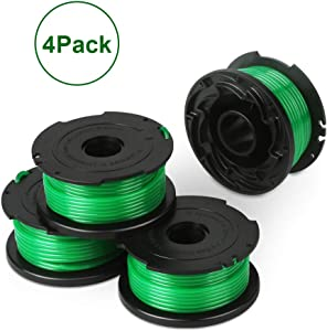"""OFPOW String Trimmer Replacement Spool Compatible with Black and Decker SF-080 GH3000 LST540 Weed Eater, 20ft 0.080"""" GH3000R LST540B Edger Refills Line,Auto-Feed Single Line (4 Pack)"""