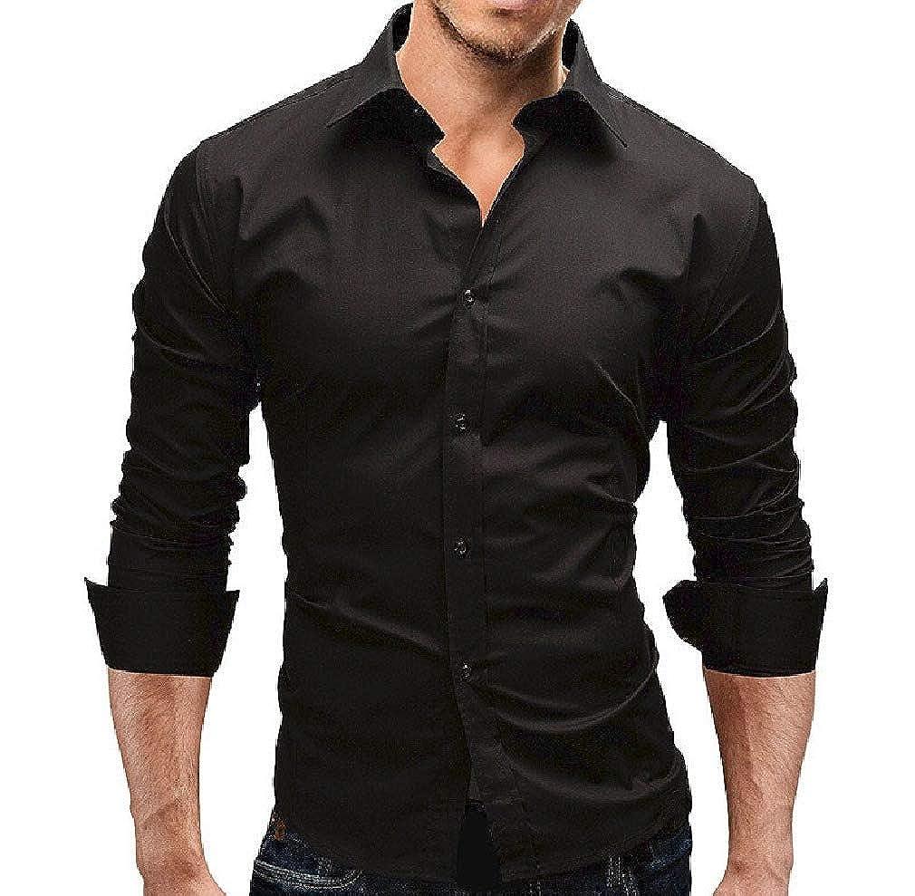 Zimaes-Men Business Long Sleeves Slim Fit Dress Shirts Regular Fit Shirt