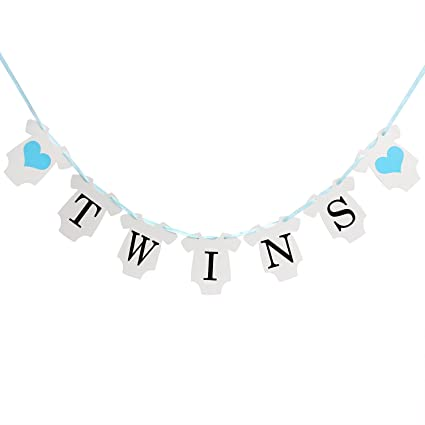 amazon com innoru tm it is twins baby show banner decorations