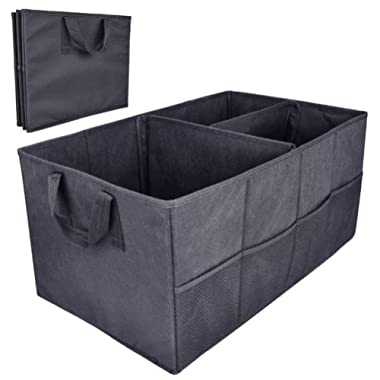 MQYH@ Car Boot Foldable Trunk Storage Organiser Tidy Storage Box Basket Shopping Bag Tool Organiser for Car, SUV, Van, and Truck Compartment Storage Bag - Black