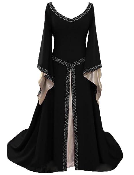 Amazon.com: Ainiel Vestido medieval para mujer, vintage ...
