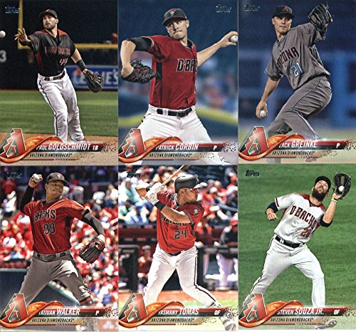 2018 Topps Series 2 Baseball Arizona Diamondbacks Team Set of 11 Cards: Taijuan Walker(#360), Shelby Miller(#425), Jeff Mathis(#474), Daniel Descalso(#479), Jarrod Dyson(#490), Zack Greinke(#507), Yasmany Tomas(#566), Steven Souza Jr.(#612), Paul Goldschmidt(#618), Arizona Diamondbacks(#659), Patrick Corbin(#662)